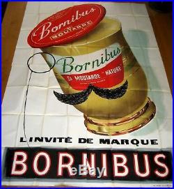 Affiche Originale Ancienne Collection Bornibus Moutarde en 4 panneaux Roques