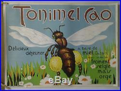 Affiche Originale Ancienne Delicieux Dejeuner Tonimel Abeille Miel Cacao
