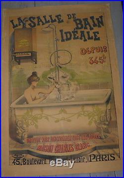 Affiche Originale Ancienne La Salle De Bains Ideal Raymond Tournond 1900/20