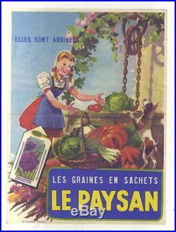 Affiche Originale Ancienne Les Graines En Sachets Le Paysan Imprimerie Du Pharo