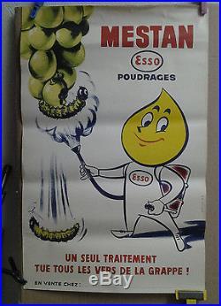 Affiche Originale Ancienne Mestan Viticole Esso Agriculture Raisin