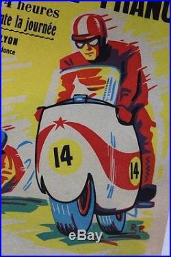 Affiche Originale Ancienne Moto Side Car Lyon Juin 1964 Circuit Gerland Bp