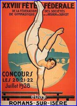 Affiche Originale André Galland Gymnastique artistique Athlète Agrès 1928
