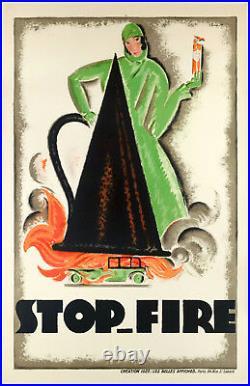 Affiche Originale Art Déco Charles Loupot Stop-Fire Automobile 1925