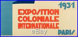 Affiche Originale Bellenger Exposition Coloniale Internationale 1931 Paris