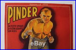 Affiche Originale Boxe Boxing Cirque Circus Poster Pinder Marcel Thil 1938