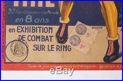 Affiche Originale Boxe Boxing Cirque Circus Poster Pinder Marcel Thil 1938