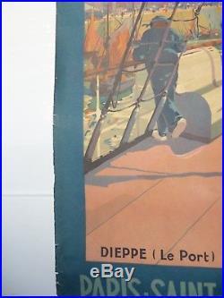 Affiche Originale Chemins De Fer De L'etat Et Southern Railway Paris Londres