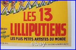 Affiche Originale Cirque Pinder Ortf Liliputiens Hollywood Las Vegas Litho