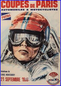 Affiche Originale Coupe de Paris Agaci Linas-Montlhery Grand Prix -1969
