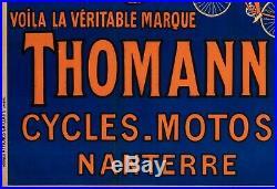 Affiche Originale Cycles Motos Thomann Elephant Vélo Bicyclette 1926