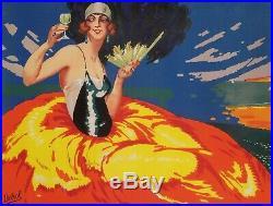 Affiche Originale Delval H. Fap'Anis Pastis Marseille Côte d'Azur 1925