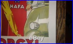 Affiche Originale Entoilée Dopcyl Hafa Pompe A Essence Vintage Scooter Pin Up