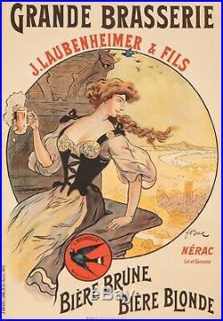Affiche Originale F. Bac Brasserie Laubenheimer Bière Nérac Lot 1908