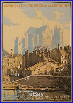Affiche Originale F Marks Chemins de Fer Alsace Lorraine Metz 1920