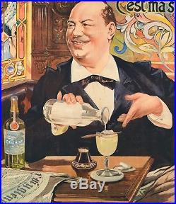 Affiche Originale F. Tamagno Absinthe Cusenier Oxygenée Liqueur 1896