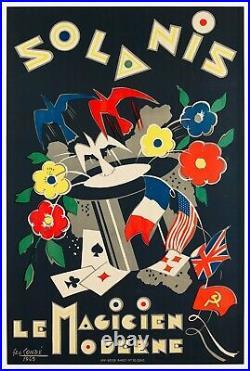 Affiche Originale Géo Condé Solanis Magicien Colombe Carte- Drapeau 1945