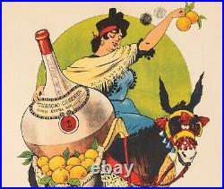 Affiche Originale Gros E. Curaçao Cusenier Ane Orange Liqueur 1899