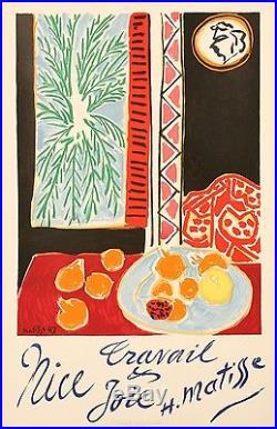 Affiche Originale Henri Matisse Nice Travail Joie 1947