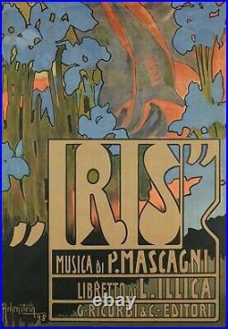 Affiche Originale Hohenstein Iris Opera Italien Japon Mascagni 1898