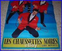 Affiche Originale LES CHAUSSETTES NOIRES EDDY MITCHELL JOHNNY ELVIS ROCK TWIST