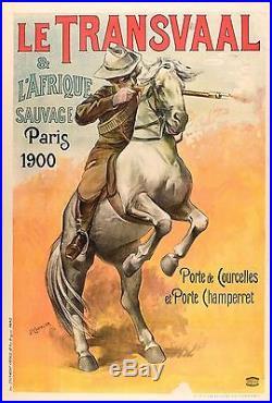 Affiche Originale Le Transvaal Afrique Sauvage Expo Universelle Paris 1900