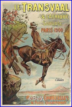 Affiche Originale Le Transvaal L'Afrique Sauvage Expo Universelle Paris 1900