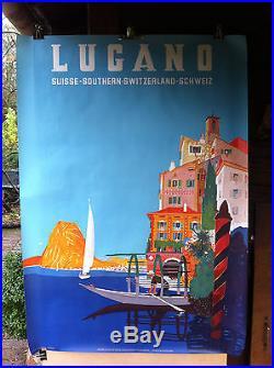 Affiche Originale Lithographiée de Tourisme pour la ville Suisse de LUGANO