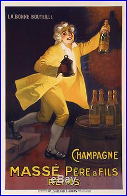Affiche Originale Marcellin Auzolle Champagne Massé Reims 1920