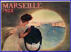 Affiche Originale Mario Pezilla Marseille Exposition Internationale 1908