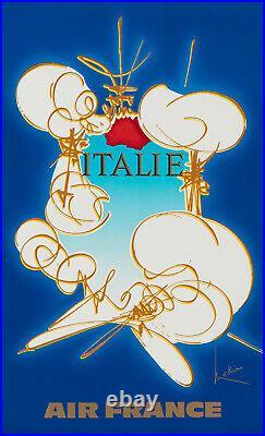 Affiche Originale Mathieu George Air France Italie Voyage Avion 1967