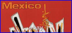 Affiche Originale Mathieu George Air France Mexico Avion Voyage 1967