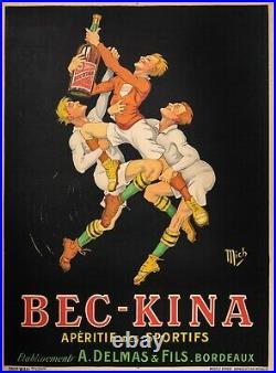 Affiche Originale Mich Bec Kina Aperitif Alcool Liqueur- Rugby 1921