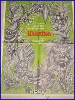 Affiche Originale PRESSE LIBÉRATION Dans la Jungle de la Presse