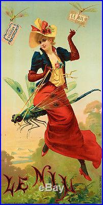 Affiche Originale Papier à Cigarette JOB Le Nil Pyramide Libellule 1900