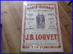Affiche Originale Paris Roubaix 1926 Cycles Louvet Bicyclette Entoilee Slembrouc