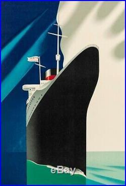 Affiche Originale Paul Colin Cie Gle Transatlantique French Line 1952