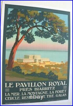 Affiche Originale Pavillon Royal Castel Biarritz Bidart Pays Basque C. Duval 1930