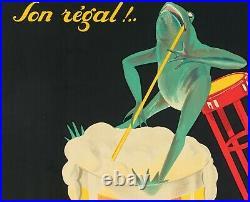 Affiche Originale Phi Bières Brasserie Lengrand Liqueur Grenouille -1926