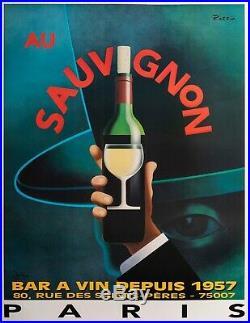 Affiche Originale Razzia Au Sauvignon Restaurant Bistrot Paris Vin 1995