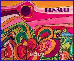 Affiche Originale Renault R12 Break Psychédélique Hippie Automobile 1970