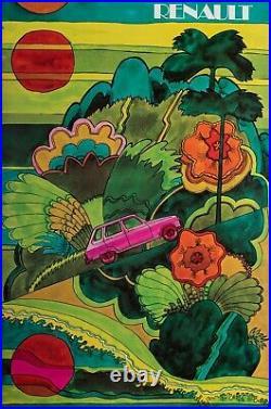 Affiche Originale Renault R16 Psychédélique Hippie Automobile 1970