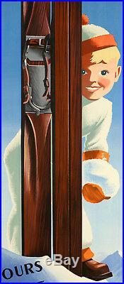 Affiche Originale Roland Hugon 8 Jours de Neige Ski Montagne 1938