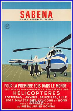 Affiche Originale SABENA Hélicoptère Sikorsky Aviation 1955