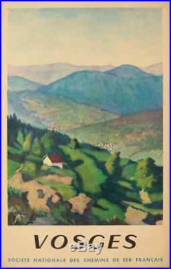Affiche Originale Tourisme Benito Vosges Chemins de Fer SNCF 1945