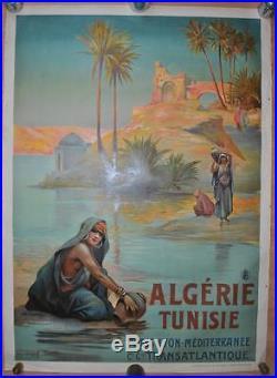 Affiche PLM Originale ALGERIE TUNISIE Compagnie Générale Transatlantique CGT
