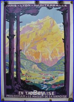 Affiche PLM Originale EN TARENTAISE Pralognan Massif Vanoise Ill. Roger SOUBIE