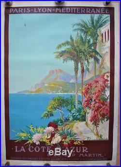 Affiche PLM Originale LA COTE D'AZUR et le Cap Martin par Julien LACAZE