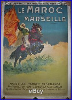 Affiche PLM Originale LE MAROC Via MARSEILLE Compagnie Navigation Paquet