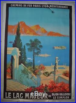 Affiche PLM Originale Le Lac Majeur par Dijon-Vallorbe Le Simplon Julien Lacaze
